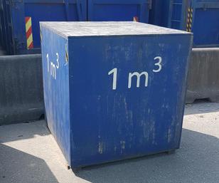 Bilde av en kube som viser 1m3